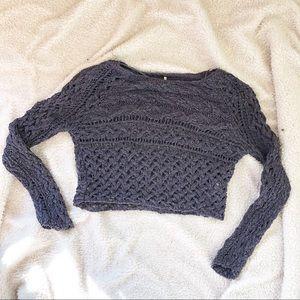 Free People crochet knit cropped sweater, XS